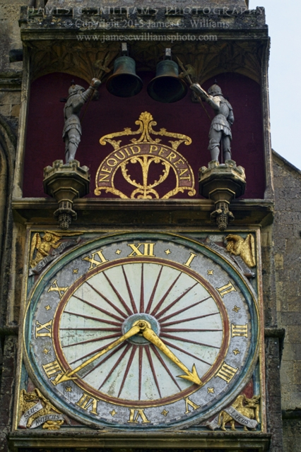 Beautiful clock on exterior of Wells Cathedral.Shot in 2010, final edit processed 2015.James C. Williams Photography© Copyright 2015 James C. Williamswww.jamescwilliamsphoto.com
