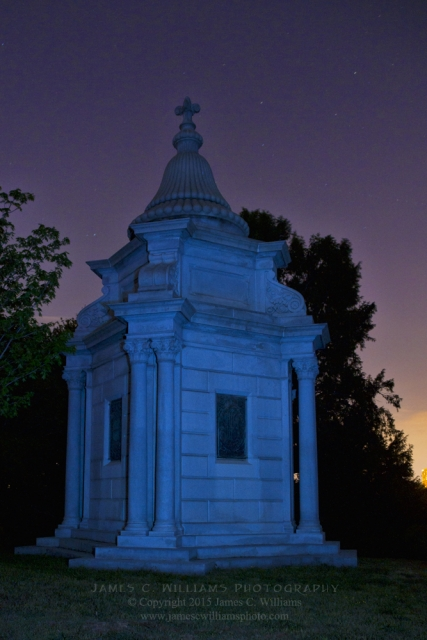 Ornate Tomb At Nightfall, Hollywood Cemetery, Richmond, VirginiaDigital Color Night Photograph With Light Painting; shot in 2012, final edit processed 2015James C. Williams Photography© Copyright 2015 James C. Williamswww.jamescwilliamsphoto.com