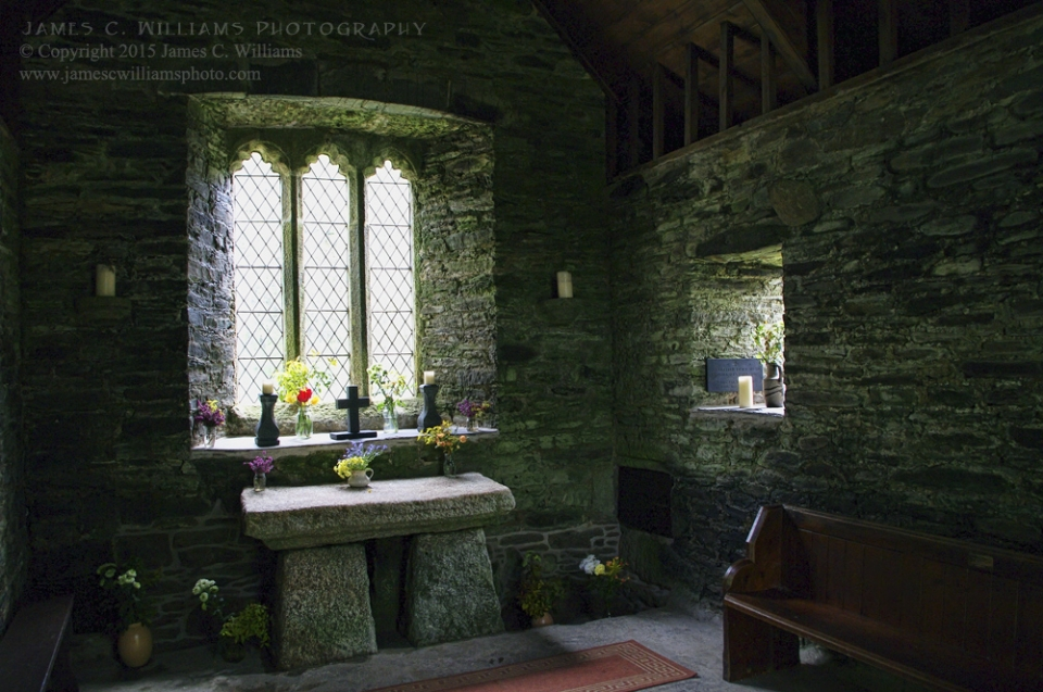 Interior, St. Clether Chapel, St. Clether, Launceston Cornwall, EnglandDigital Color Photograph; shot in 2010, final edit processed 2015James C. Williams Photography© Copyright 2015 James C. Williamswww.jamescwilliamsphoto.com