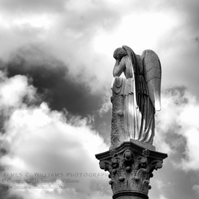 Sorrow in the Clouds Digital Black and White Photograph, 2016 Spring Grove Cemetery, Cincinnati, Ohio