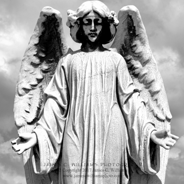Angel With Broken Fingers Color Digital Photograph, Shot December 12, 2016, final edit March 10, 2017 Cementerio Santa Maria Magdalena de Pazzis San Juan, Puerto Rico