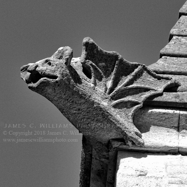 Bat Gargoyle, Woodchester Digital Black and White Photograph, 2010/2018 Woodchester Mansion, Gloucestershire, England