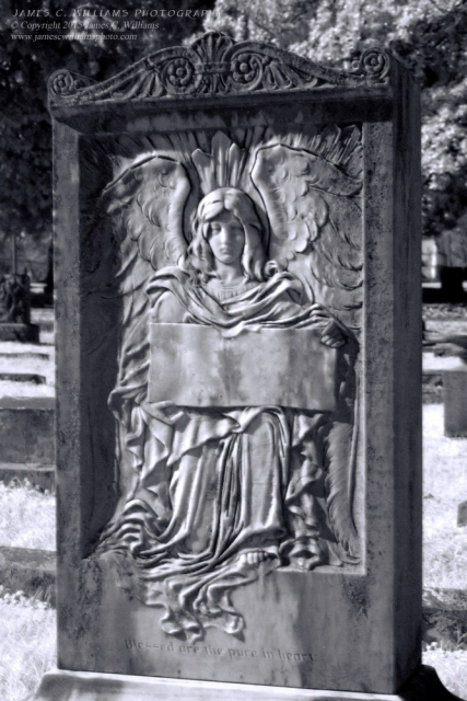 """""""Blessed Are The Pure In Heart"""" Infrared Digital Photograph, 2015 Oakwood Cemetery, Raleigh, NC"""