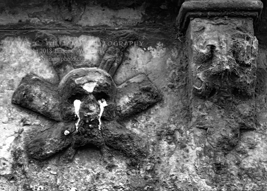 Crying Skull, Greyfriars Greyfriars Kirkyard, Edinburgh, Scotland Digital Black and White Photograph shot 2012