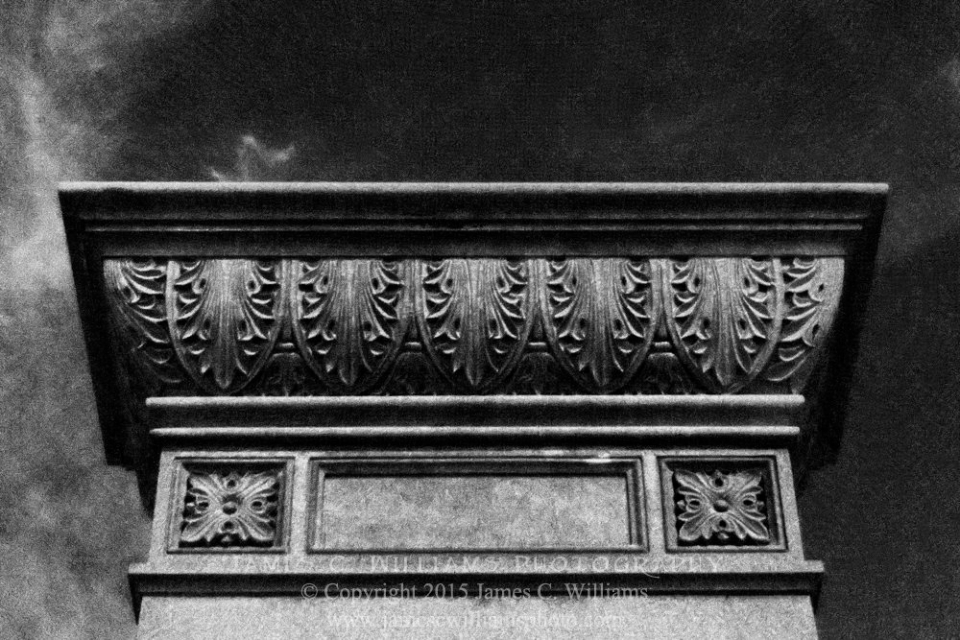 Floral Monument Detail, Green Hill Cemetery, Greensboro, NCDigital Infrared Black and White PhotoJames C. Williams Photography© Copyright 2015 James C. Williamswww.jamescwilliamsphoto.com