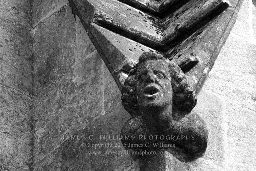 Human Head Gargoyle, exterior of Wells Cathedral. Shot in 2010, final edit processed 2015. James C. Williams Photography © Copyright 2015 James C. Williams www.jamescwilliamsphoto.com
