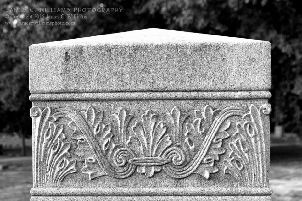 Headstone Detail, Green Hill Cemetery, Greensboro, NCDigital Converted B&W PhotographJames C. Williams Photography© Copyright 2015 James C. Williamswww.jamescwilliamsphoto.com