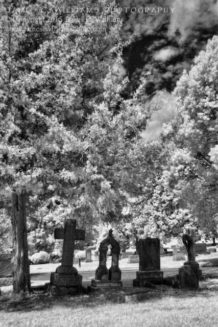 Headstones Amongst Trees, Green HillGreen Hill Cemetery, Greensboro, NCDigital Infrared PhotographyJames C. Williams Photography© Copyright 2015 James C. Williamswww.jamescwilliamsphoto.com