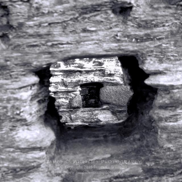 Holes Within Holes Tintagel Castle, Cornwall, England Digital B&W Conversion Photograph shot 2008, final edit 2015 James C. Williams Photography © Copyright 2015 James C. Williams www.jamescwilliamsphoto.com