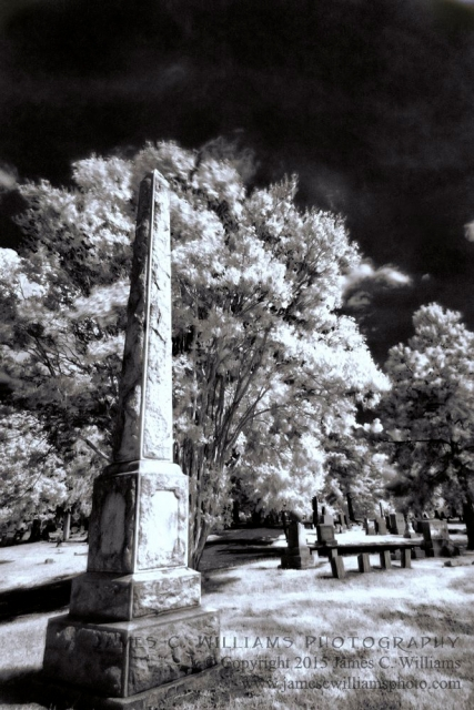 Leaning Monument, Green Hill Cemetery, Greensboro, NCDigital Infrared Black and White PhotoJames C. Williams Photography© Copyright 2015 James C. Williamswww.jamescwilliamsphoto.com