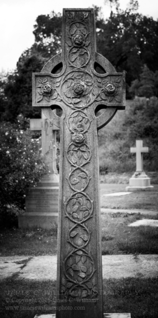 Rose Celtic Cross, Hollywood Cemetery, Richmond, VA.By kind permission of Hollywood Cemetery management.Digital photo converted to black & white.