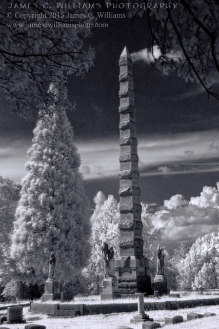 Statues and Spire, Green Hill Cemetery, Greensboro, NCDigital Infrared Black and White PhotoJames C. Williams Photography© Copyright 2015 James C. Williamswww.jamescwilliamsphoto.com