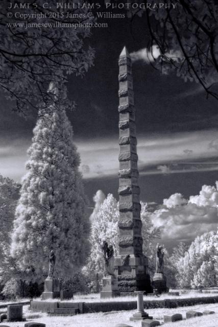 Statues and Spire, Green Hill Cemetery, Greensboro, NCDigital Infrared Black and White PhotoJames C. Williams Photography© Copyright 2015 James C. Williamswww.jamescwilliamsphoto.com