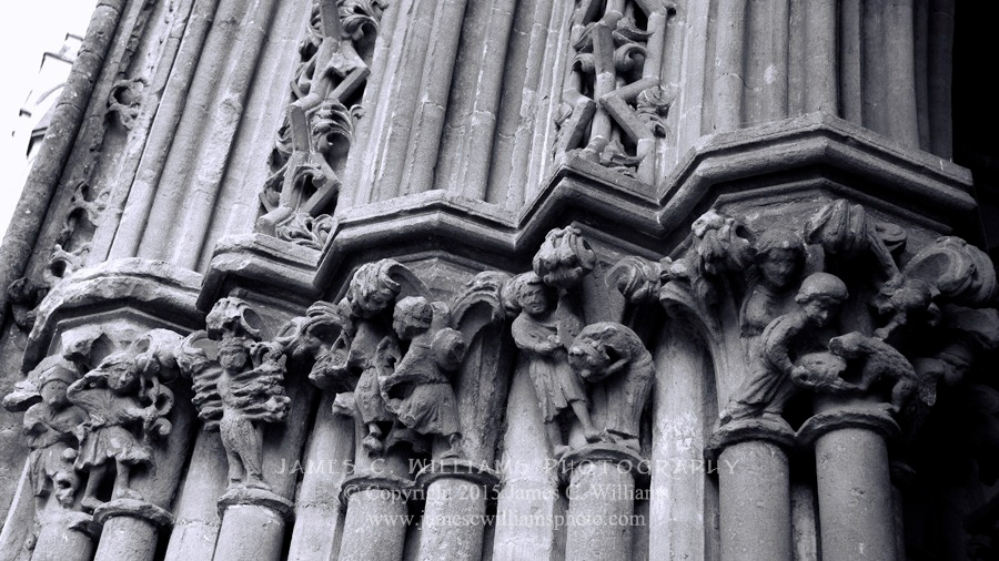 Detail of column adornment on exterior of Wells Cathedral.B&W Converted Digital PhotographShot in 2010, final edit processed 2015.James C. Williams Photography© Copyright 2015 James C. Williamswww.jamescwilliamsphoto.com