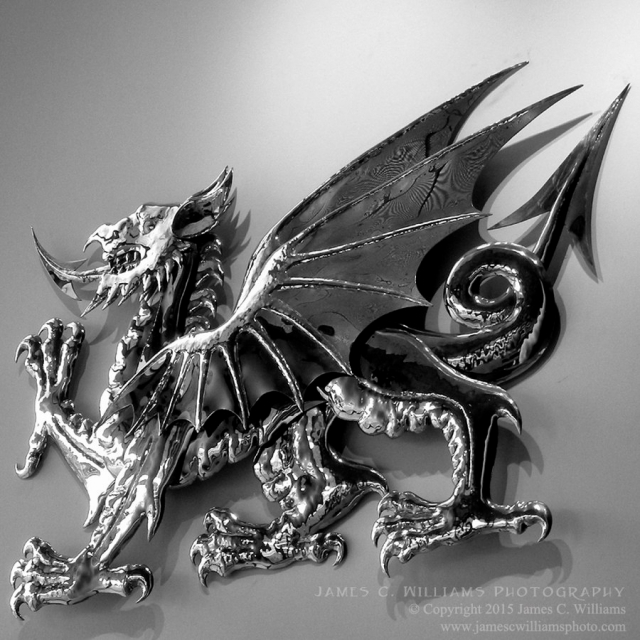 Welsh Dragon, Cardiff, WalesDigital Converted B&W PhotographShot in 2008, final edit processed 2015