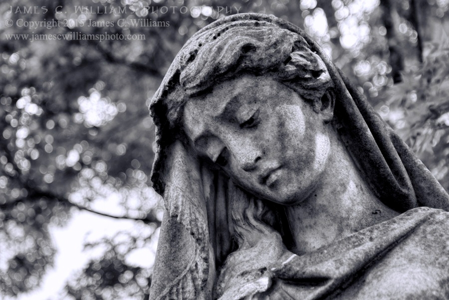 Woman In SadnessDigital Black And White Conversion PhotographOne of the many lovely statues at Oakdale Cemetery, Wilmington, NC. By kind permission of Oakdale Cemetery Management.James C. Williams Photography© Copyright 2015 James C. Williamswww.jamescwilliamsphoto.com