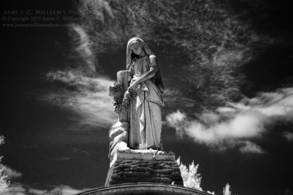 Woman on Pedestal, Green Hill Cemetery, Greensboro, NCInfrared Digital  PhotographJames C. Williams Photography© Copyright 2015 James C. Williamswww.jamescwilliamsphoto.com