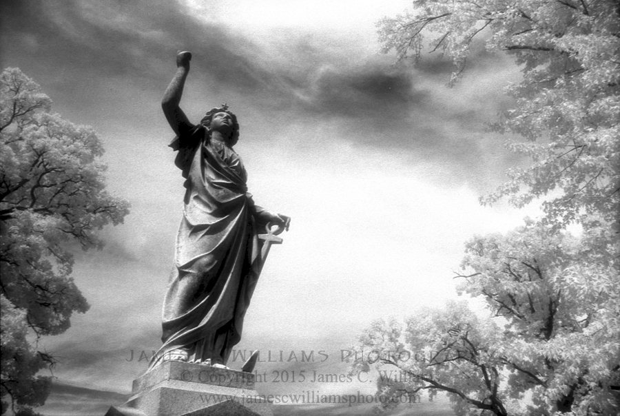 Railing. Shot in 2005 at Green Lawn Cemetery, Columbus, Ohio. Infrared Film Photograph captured on Kodak HIE-135 infrared film.