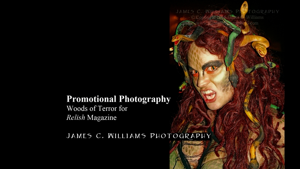 Model/Actress Alé Horton as Medusa at Woods of Terror. Shot during Woods of Terror's press night, 2013. Photo ran in Relish Magazine piece by Tim Clodfelter about Woods of Terror.