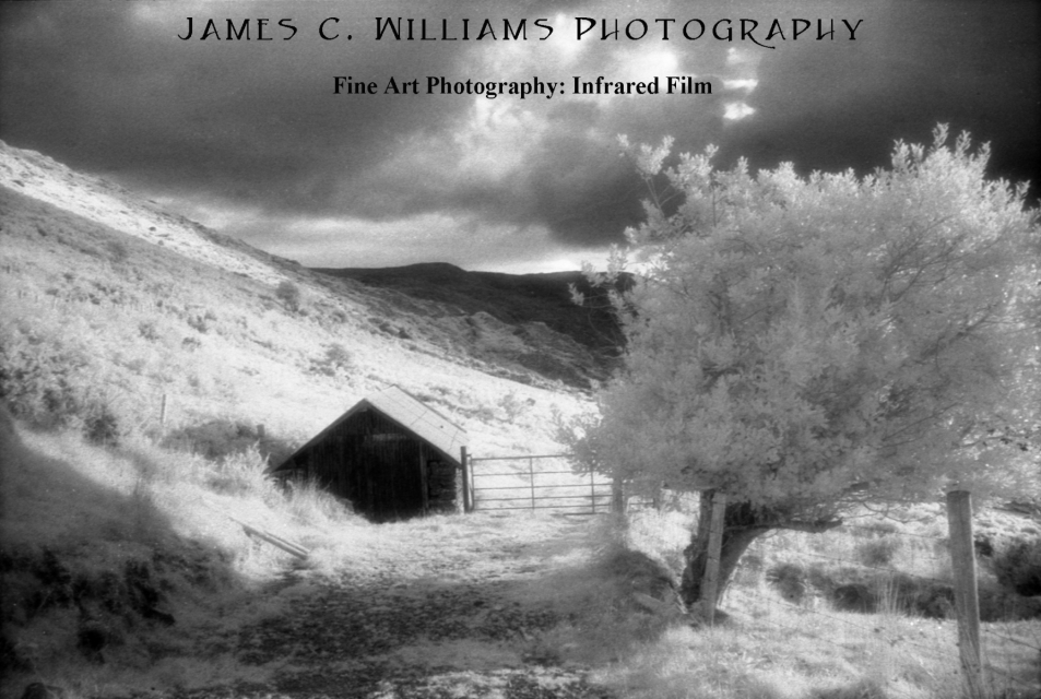 Nestled Turf ShedInfrared Film Photography; shot and edited for print 2005Healy Pass, Co. Cork, Ireland