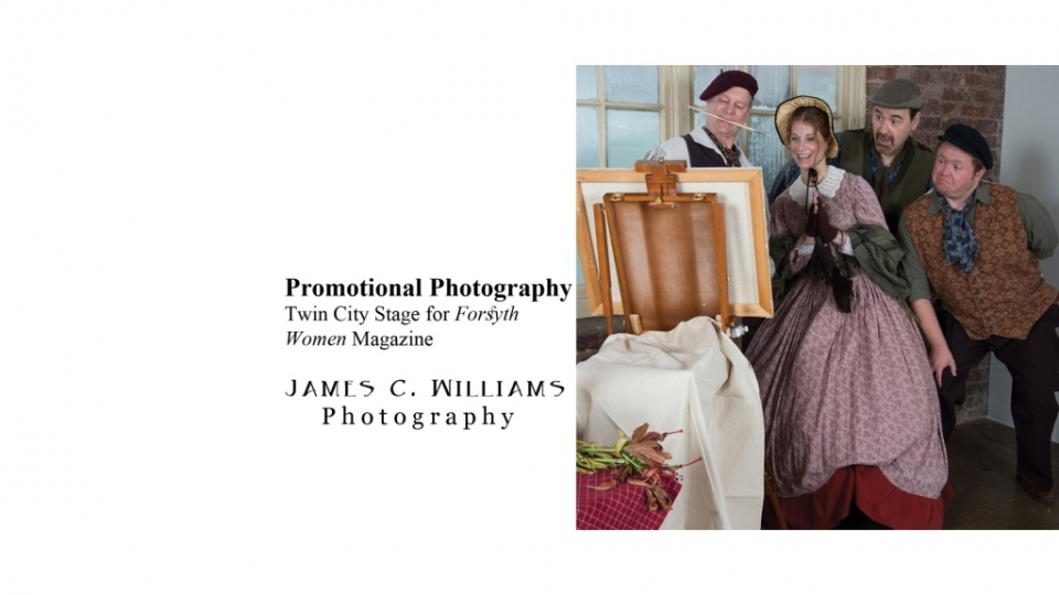 "Promotional shoot for the Twin City Stage 2015 production of ""Is He Dead"", featured in the September issue of Forsyth Woman Magazine, and the September 13, 2015 Sunday Arts section of the Winston-Salem Journal.James C. Williams Photography© Copyright 2015 James C. Williamswww.jamescwilliamsphoto.com"