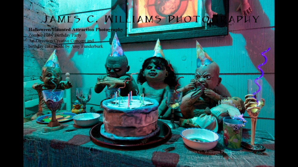 Zombie Baby Birtday PartyColor Digital Night Photograph; shot 2015, final edit processed 2016Art Direction/creative concept by Amy FunderburkProps from Spirit Halloween