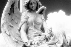 Seated Angel With flowers, San JuanInfrared Filml Photograph, Shot December 12, 2016, final edit June 25, 2018Cementerio Santa Maria Magdalena de PazzisSan Juan, Puerto Rico