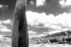The Ballycrovane Ogham Stone is in the town of Ballycrovane, Co. Cork, Ireland on the Beara Peninsula. This infrared film photograph was shot in 2005 on Kodak HIE-135 infrared film; final edit processed 2015. It is of the Bronze Age.