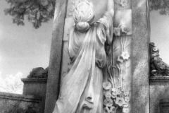Crying To Heaven: Statue is in Maplewood Cemetery, Durham NC. Shot in 2007 on Kodak HIE-135 infrared film. Final edit processed 2015.