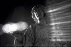 Statue shot in Mapelwood Cemetery, Charlotte, NC. Lens flair in hand was expected - rays to the right were not. Infrared film image shot, processed and scanned 2007.